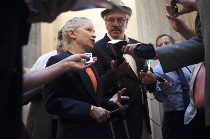 Earthjustice attorney Deborah Goldberg speaks with reporters in Albany, NY.