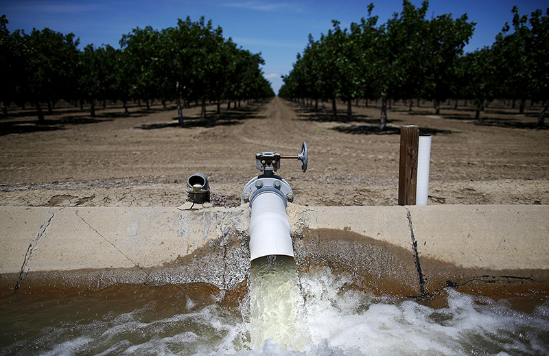 Water is pumped into an irrigation canal at a Central Valley almond orchard on April 24, 2015 in Firebaugh, California.