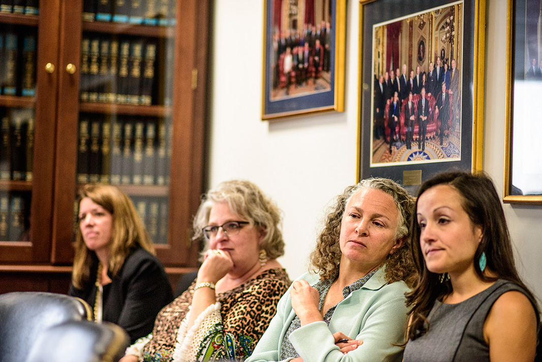 Eve Gartner (second from right), Earthjustice's lead litigator on toxic chemicals, and Andrea Delgado (right), Senior Legislative Representative at Earthjustice, listened as the students made their presentation.