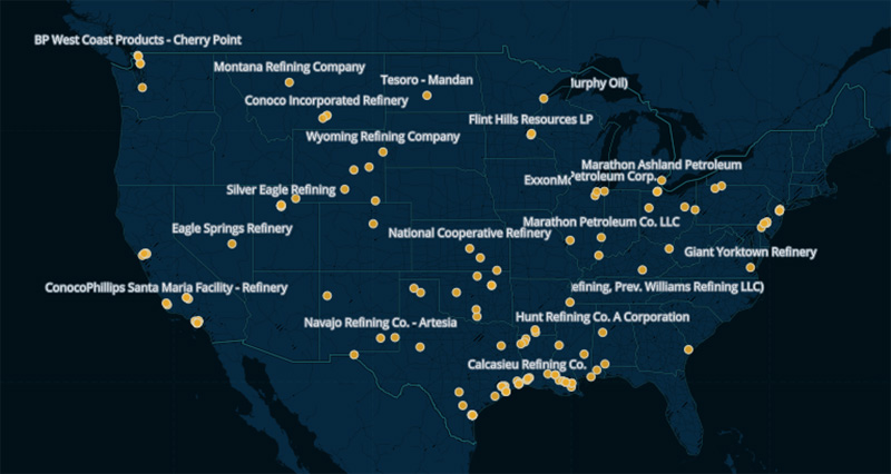 Map of Oil Refineries in the United States.